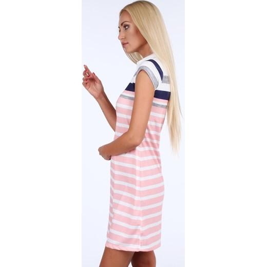 9274607ac6 Sukienka polo w pasy granatowo-jasnoróżowa 7578 fasardi fasardi.com w Domodi