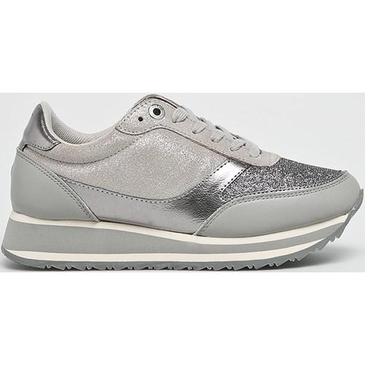 567de6db8dec1 ... Sneakersy damskie Tommy Hilfiger młodzieżowe wiązane wiosenne srebrne  na koturnie ze skóry