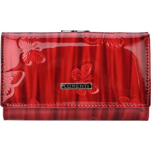 dd14ffbc8a406 Lakierowany portfel damski skórzana portmonetka na bigiel motylki -  czerwony Lorenti world-style.pl