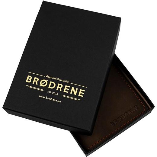 19843d1904782 Skórzany cienki portfel slim wallet z bilonówką BRODRENE SW01+  ciemnobrązowy Brødrene Skorzana.com ...
