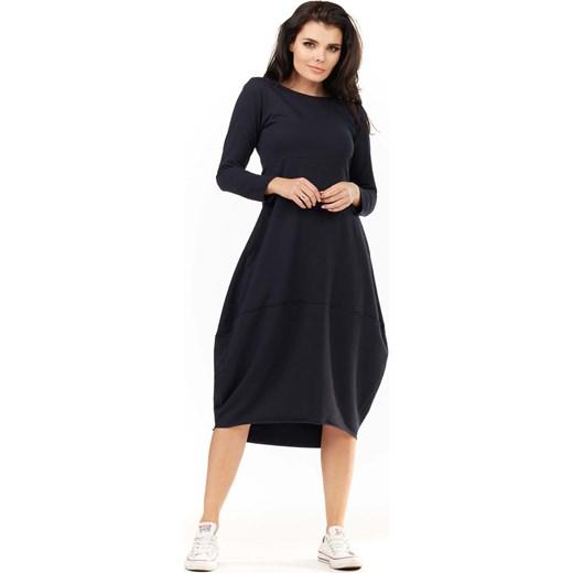 1cb2cc8727 Granatowa Dzianinowa Midi Sukienka Bombka z Długim Rękawem Molly.pl S-M  promocyjna cena