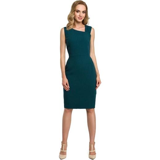 f7a56c9e Zielona Wieczorowa Ołówkowa Sukienka z Ciekawym Dekoltem Moe MOLLY.PL