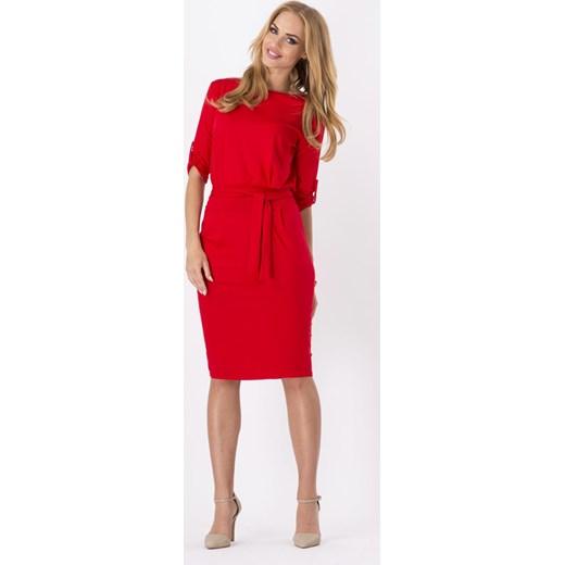 967887faee Czerwona Kobieca Sukienka Midi z Podpinanym Rękawem Paskiem molly-pl  pomaranczowy