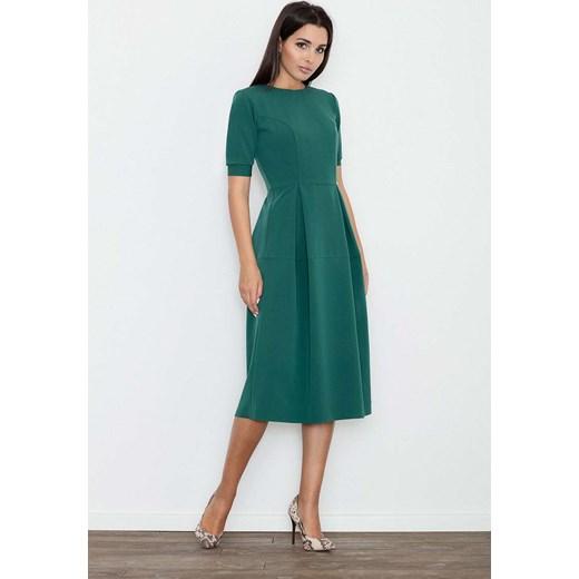 e538bcae54 Zielona Sukienka Elegancka Wizytowa Midi Molly.pl zielony w Domodi