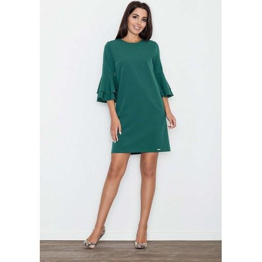 e473fbd8d0 Zielona Elegancka Sukienka z Hiszpańskim Rękawem Molly.pl niebieski ...