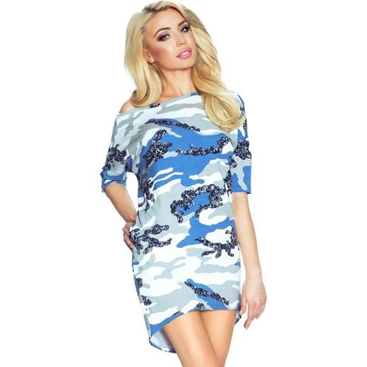 aedd37e7 Biało Niebieska Sukienka z Dłuższym Tyłem - Moro bezowy Molly.pl