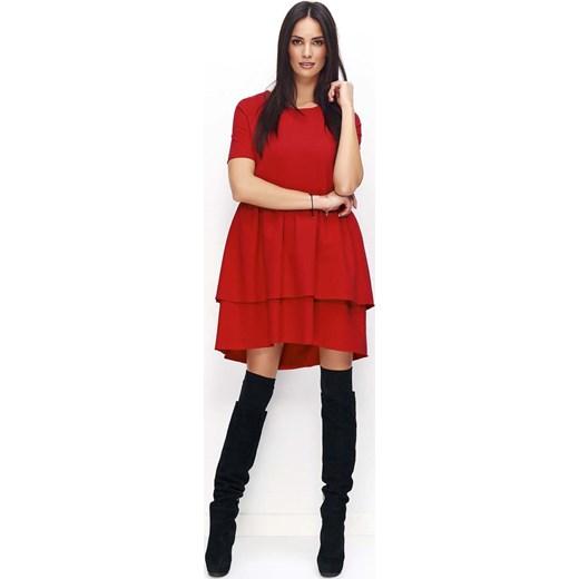 b813057411 Czerwona Sukienka Casual z Falbankami Molly.pl czerwony w Domodi
