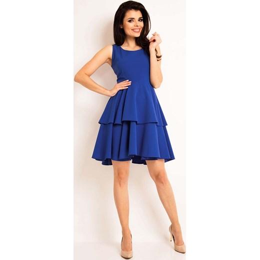 5a46e66df52d Niebieska Elegancka Rozkloszowana Sukienka z Baskinką niebieski Molly.pl S  wyprzedaż