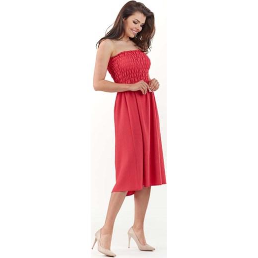 61278490896b5 Fuksja Rozkloszowana Midi Sukienka z Gorsetową Górą z Gumkami Lou-lou S-M  MOLLY.