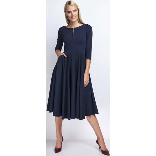 013e1791d4 Granatowa Rozkloszowana Sukienka za Kolano z Kontrastowym Zamkiem Nommo XS  MOLLY.PL