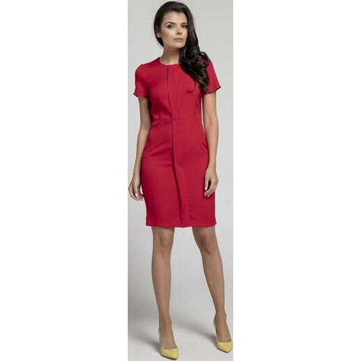 8f6f67a848 Czerwona Stylowa Dopasowana Sukienka z Pionową Plisą na Przodzie Nommo XL  MOLLY.PL