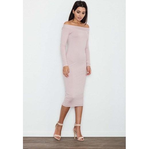 3714d881af Różowa Ołówkowa Sukienka za Kolano z Szerokim Dekoltem Molly.pl szary S
