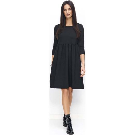 976644d8e2 Czarna Sukienka Dzianinowa Poszerzana z Rękawami ¾ Molly.pl czarny w ...