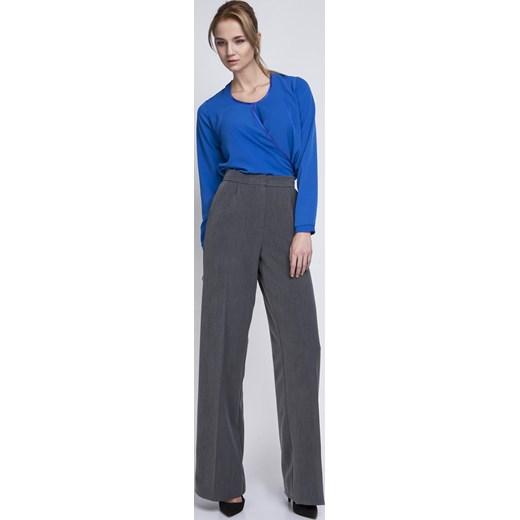 27cdbc2867af8b Grafitowe Eleganckie Spodnie z Szerokimi Nogawkami w Kant Molly.pl szary XL
