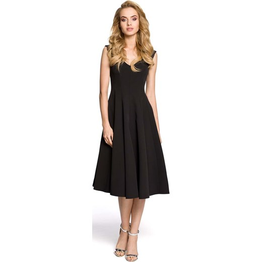 729bd95eb7 Czarna Wizytowa Sukienka Midi z Szerokim Dołem czarny Molly.pl w Domodi