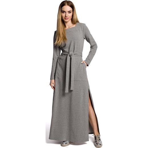 813dfa6afc Szara Sukienka Dresowa Maxi z Dekoltem Caro Rozcięciem Molly.pl w Domodi