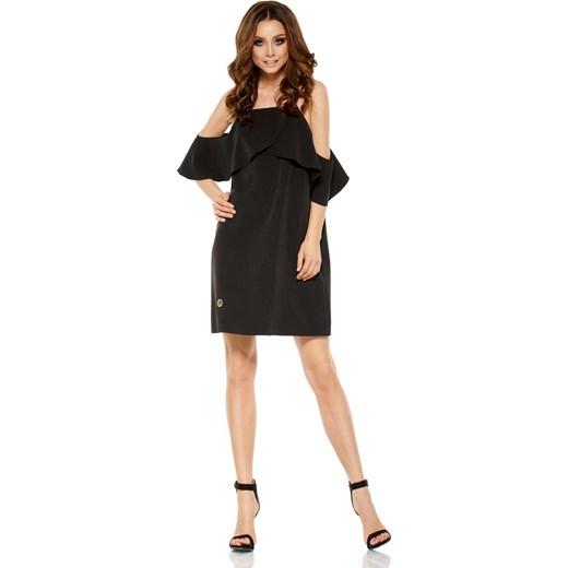 c67d6e78f5 Czarna Wyjątkowa Trapezowa Sukienka z Falbanką z Odkrytymi Ramionami  Lemoniade L MOLLY.PL
