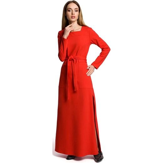 aaac2d7a4a Czerwona Sukienka Dresowa Maxi z Dekoltem Caro Rozcięciem Molly.pl w ...