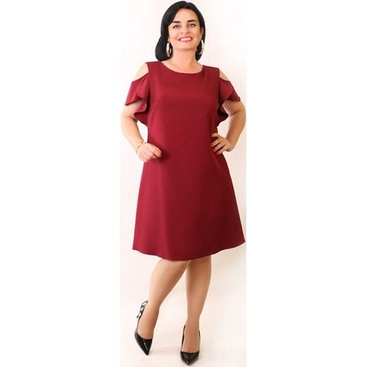 b6e49eac9c8428 Sukienka Fabiani trapezowa bordo Oscar Fashion w Domodi