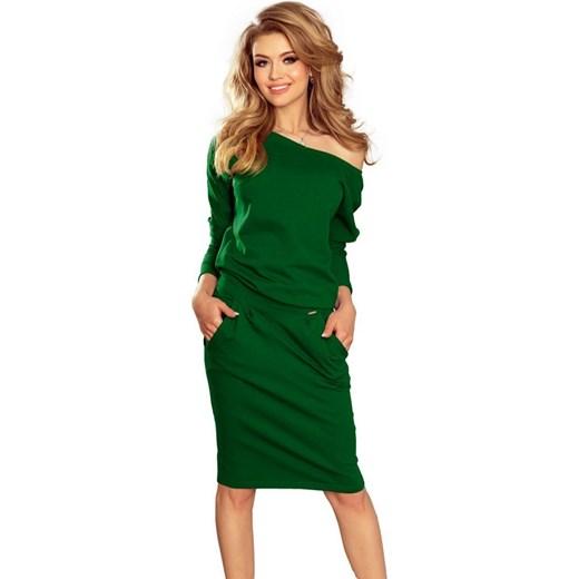 16e564a114 189-3 Sukienka dresowa z dekoltem na plecach - ZIELEŃ BUTELKOWA Numoco XL  MyButik.