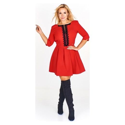 624e59cc5d Sukienka Iwa na co dzień czerwona midi z długimi rękawami casual dla  puszystych z okrągłym dekoltem