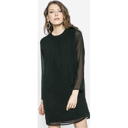 d2f0d4dd0d Sukienka Only casual z okrągłym dekoltem midi bez wzorów z długim rękawem
