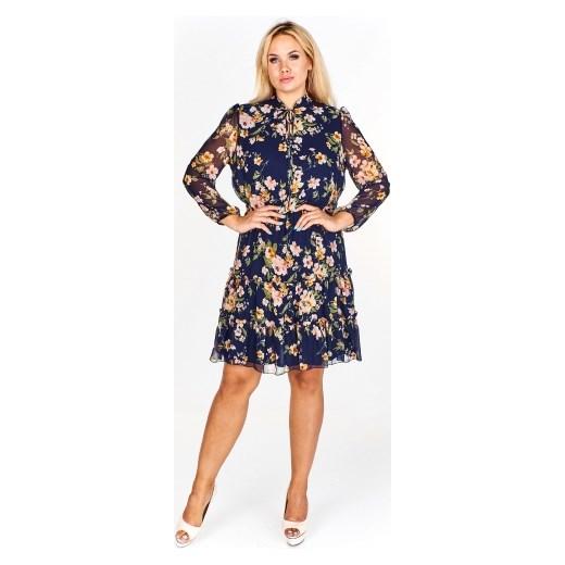 bf53746a89 ... Stella Vera sukienka z długim rękawem na urodziny dla puszystych w  kwiaty casualowa ...