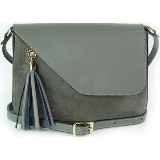 d98180b9fafb9 VERA PELLE Mała włoska torebka z frędzlami skórzana listonoszka szara  VP113G Włoskie torebki WYPRZEDAŻ Vera Pelle ...