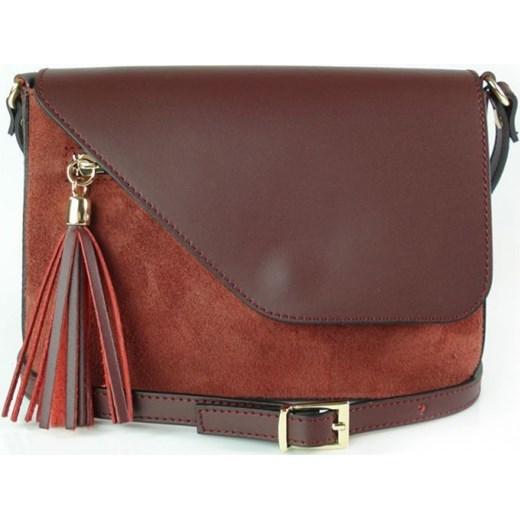 11986b8588237 VERA PELLE Mała włoska torebka z frędzlami skórzana listonoszka bordowa  VP113R Włoskie torebki WYPRZEDAŻ Vera Pelle ...