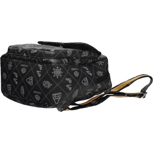 8f09e82c1e7f6 ... CHARRO Czarny mały plecak damski z modnym nadrukiem skóra ekologiczna  CH019-6 Galarti promocja rinkopl ...