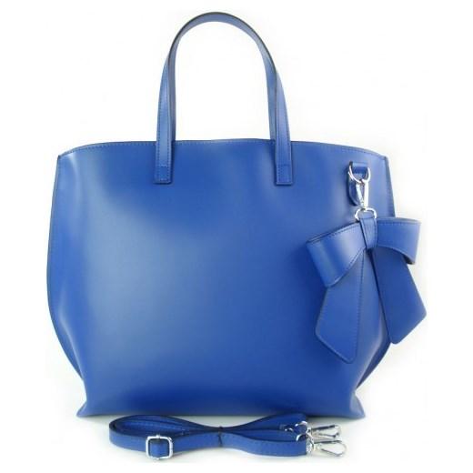 59432257be3c8 VERA PELLE Włoska torebka damska SHOPPER BAG A4 z kokardą niebieska skóra  naturalna SB689BLU torebki włoskie ...