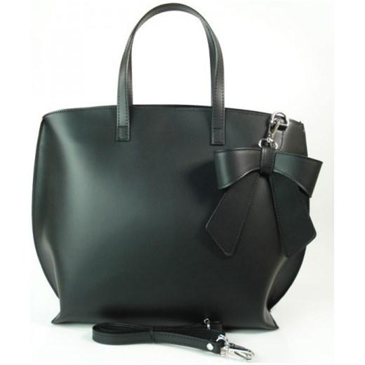 301a39cb1a84b VERA PELLE Włoska torebka damska SHOPPER BAG A4 z kokardą czarna skóra  naturalna SB689N torebki włoskie ...