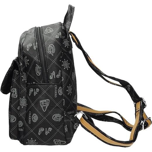 902b27f9bbf3e ... CHARRO Czarny mały plecak damski z modnym nadrukiem skóra ekologiczna  CH019-6 Galarti wyprzedaż rinkopl