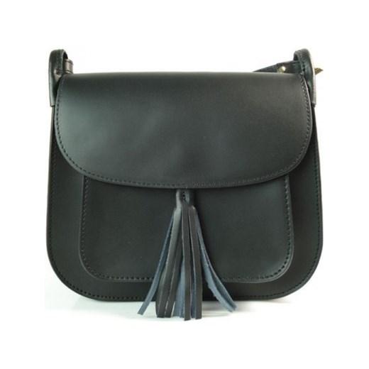 ac8009e63ed38 VERA PELLE Włoska mała torebka z frędzlami skórzana listonoszka czarna  L137N Włoskie torebki WYPRZEDAŻ Vera Pelle ...