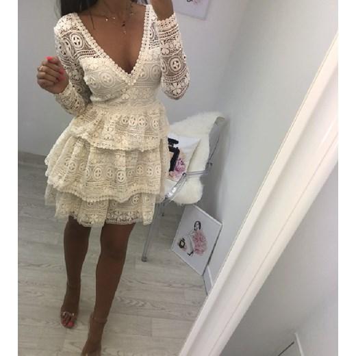 9cc4d2525d Sukienka koronkowa kremowa DZERY Hollywood dream w Domodi