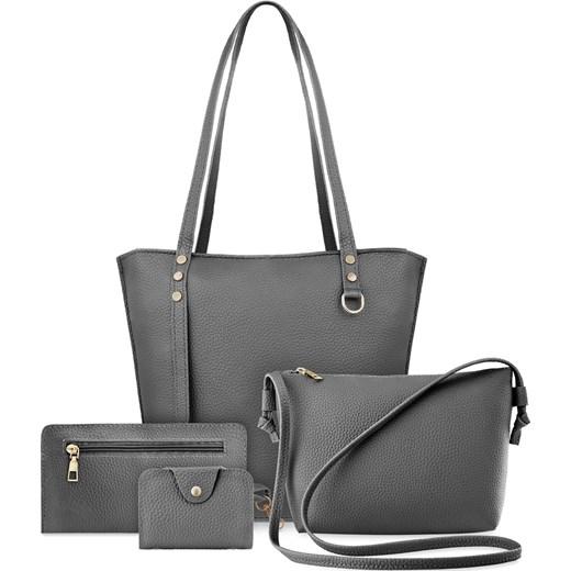 268532ed5d196 Zestaw torebek damskich 4w1 shopper bag listonoszka etui saszetka -  popielaty world-style.pl