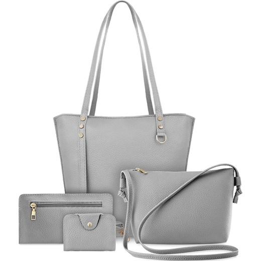55657dde7f107 Zestaw torebek damskich 4w1 shopper bag listonoszka etui saszetka - szary  world-style.pl