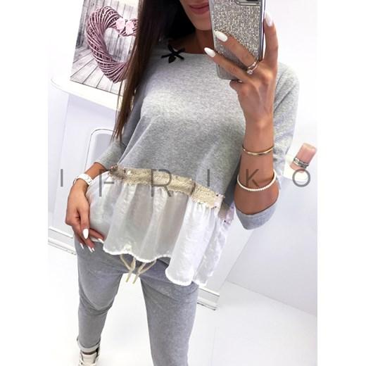 7cbd99a1e57845 New style Włoski komplet bluzka + spodnie zdobione cekinami grey Ifriko.pl  w Domodi