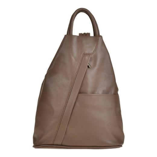 91bb911a204ef Zgrabny plecak skórzany brązowy