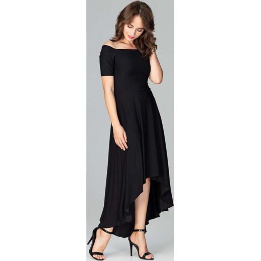 2432ae0b3c Czarna Długa Asymetryczna Sukienka z Odkrytymi Ramionami Katrus S MOLLY.PL