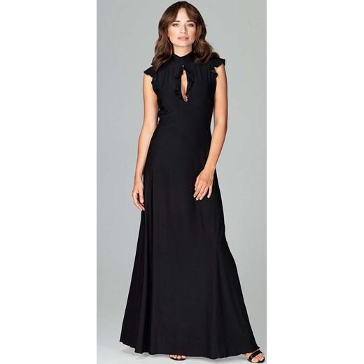 f313ec74e4 Czarna Subtelna Długa Sukienka z Falbankami Katrus MOLLY.PL w Domodi