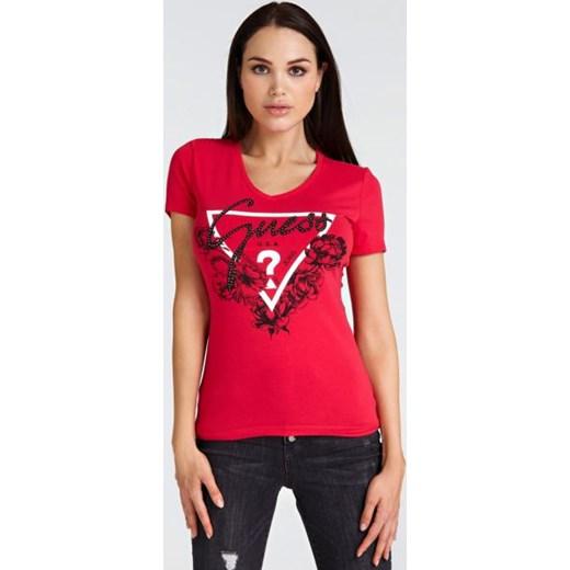 dee6f84217bc9 Bluzka damska czerwona Guess z elastanu młodzieżowa w Domodi