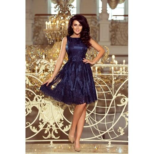 c903ea13 173-3 Ekskluzywna rozkloszowana sukienka - GRANATOWY HAFT Numoco MyButik.pl