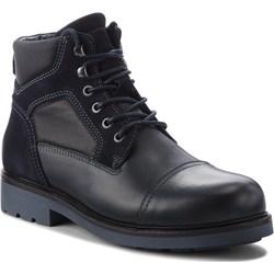 d999a4f749d3e Czarne buty zimowe męskie Tommy Hilfiger militarne na zimę wiązane ...