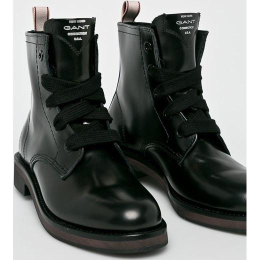 7006a6d01fda2 ... płaskiej podeszwie casual gładkie wiązane · Workery damskie czarne Gant