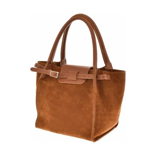 4233256aa103d Włoska torebka zamszowa trapez a'la Celine camel Vera Pelle  stylowagalanteria.com