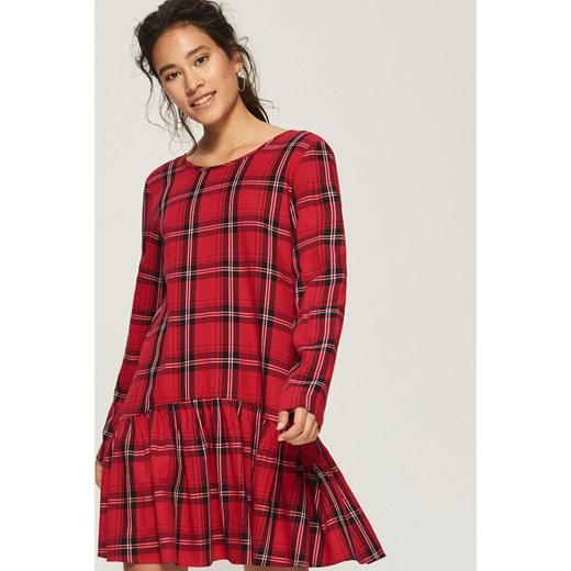 1d81b7f20e Sinsay sukienka czerwona z długim rękawem w kratkę w Domodi