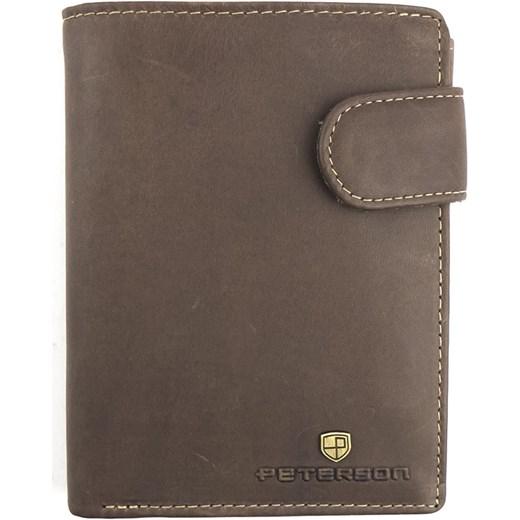c744ee557e627 Brązowy męski portfel skórzany Nubuk Peterson 350 2 2-1-4 Peterson Galmark