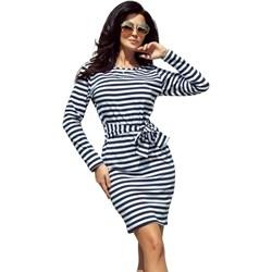 f770f02fc4ed16 Numoco sukienka w paski dopasowana z długim rękawem na co dzień mini w  stylu marine