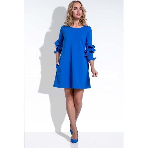 4c0fd8e439 Trapezowa Krótka Chabrowa Sukienka z Falbankami na Rękawach niebieski  Molly.pl S